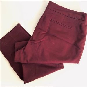 CHAUS Wine Burgundy Ankle Crop Straight Work Pant
